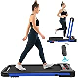 FYC 2-in-1 Folding Treadmill for Home Under Desk Treadmill Exercise Treadmill Workout Electric Foldable Running Machine Portable Compact Treadmill for Running and Walking, Installation-Free (Blue)