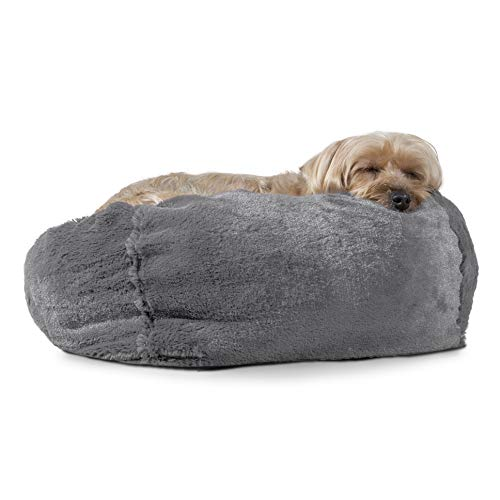 Furhaven Pet Dog Bed - Round Plush Faux Fur Refillable Ball Nest Cushion Pet Bed with Removable Cover for Dogs and Cats, Gray Mist, Small