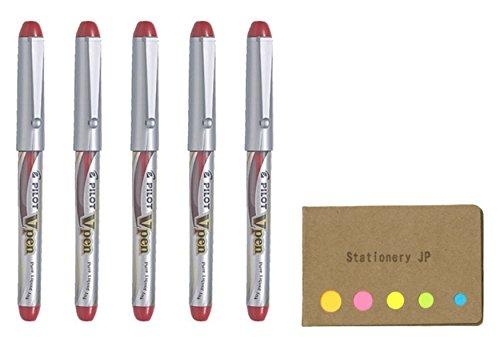 Pilot V Pen (Varsity) Disposable Fountain Pen, Fine Point, Red Ink, 5-Pack, Sticky Notes Value Set