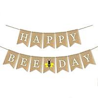 Matériau : 100 % toile de jute, durable et réutilisable. Banderole en toile de jute ficelle de jute. Dimensions du drapeau : 13 x 17 cm. Un lot comprend une bannière « Happy Bee Day ». Idéal pour décorer une fête d'anniversaire sur le thème des abeil...