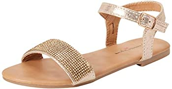 Nanette Lepore Girls Metallic Sandals with Shiny Rhinestone Straps Gold Size 12 Little Kid