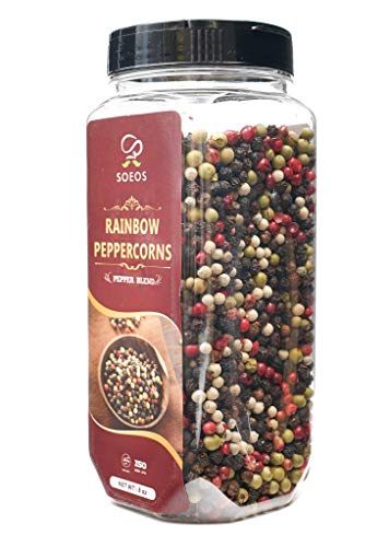 Soeos Whole Black Peppercorn Mix (8oz), Peppercorn Blend of Grinder, Whole White Peppercorns, Red Peppercorn Mix, Black Pepper Mix for Grinder, Rainbow Black Peppercorns Bulk, Black Pepper Blend (1 Pack).