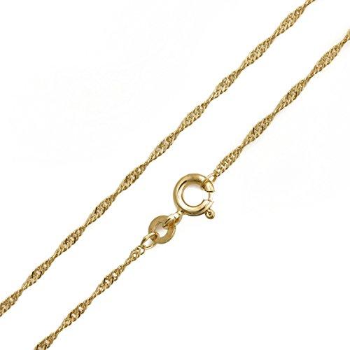 Damen Goldkette Singapurkette 585 14 Karat Gold Gelbgold Breite 1,00mm Länge 42cm 45cm 50cm (45 Zentimeter)