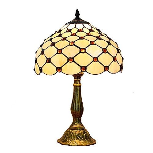 AMAFS Lámpara de Mesa Bohemia Tiffany de 12 Pulgadas, vidrieras artesanales, Cuentas de Cristal Rojo, luz de Escritorio, lámparas de Noche de Estilo mediterráneo Pastoral Beautiful Home