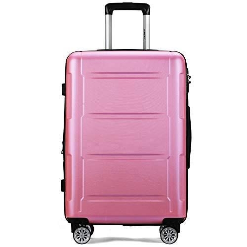 Zebery Juego de maletas rígidas expandibles con cerradura TSA, asa telescópica y 4 ruedas, maletín de viaje, Rosa. (Rosa) - OR-DEDE-PP192233PAA