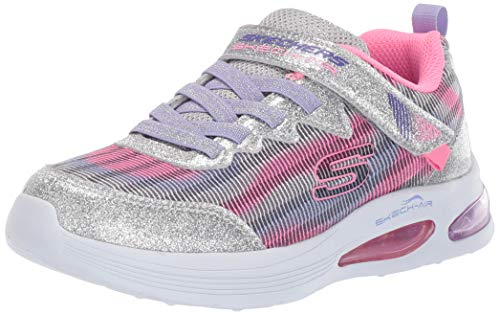 Skechers Jungen Mädchen Skech-AIR Speeder Sneaker, Silberfarbener Mehrfachstrick mit Lavendel-Besatz, 32 EU