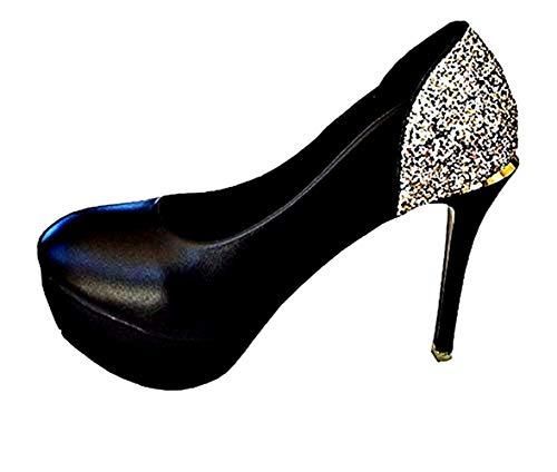 Zapatos de tacón de Aguja Sexy para Mujer - Escote - Alto - Brillo - Color Negro - Talla 36 EU - Idea cumpleaños