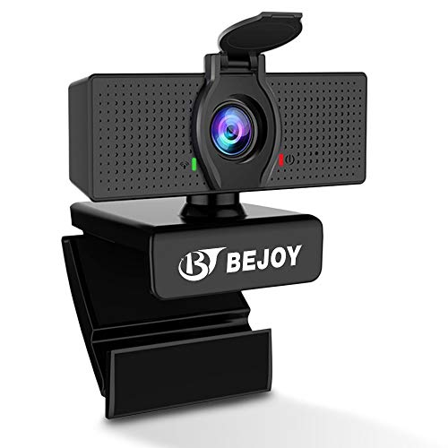 1080P Streaming Webcam with Dual Microphone & Privacy Cover, BEJOY USB Computer Web Camera [Plug and Play] [30fps], for Zoom Meeting Skype FaceTime Teams, PC Mac Laptop Desktop