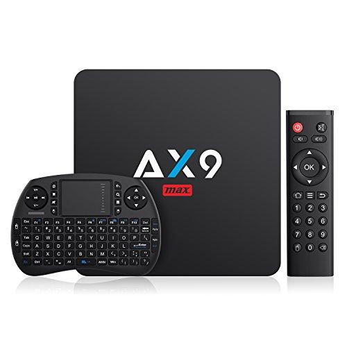 Android 7.1 TV Box TICTID Smart TV Box AX9 MAX mit Mini Wireless Tastatur / 2GB Ram+16GB eMMC / Amlogic S905X Quad-Core Prozessor / 2.4GHz WiFi / 100M LAN / HDMI /H.264 unterstützt 4K HD