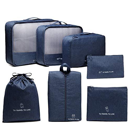 VASCHY Organizer Valigie Set di 7, Borse di Stoccaggio Valigia Essential Organizer Cubi di Imballaggio Organizer da Viaggio Borse da Viaggio Sacchetto da Viaggio Blu
