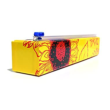 Chicwrap Sunflower Refillable Plastic Wrap Dispenser/Slide Cutter and 250' of Professional BPA Free Plastic Wrap