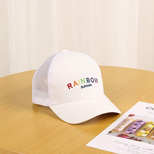 wtnhz Artículos de Moda Gorra de Malla Inglesa Bordada del Arco Iris del Alfabeto para la Gorra de béisbol de los niños, Gorra transpirableRegalo de Vacaciones
