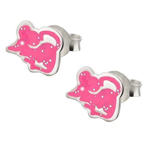 SL-Silver bambini orecchini divertente mouse Glitzer 925Argento in confezione regalo