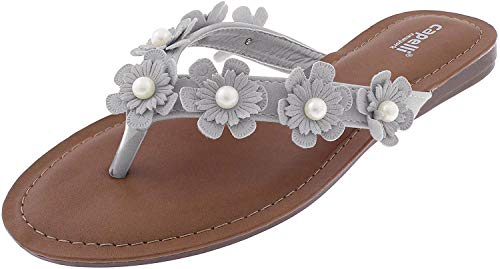 Capelli New York Ladies Flip Flops with Flowers and Pearl Centers Light Grey 7