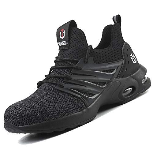 Zapatos de Seguridad para Hombre Zapatillas Deportivas de Mujer Puntera de Acero Calzado de Industrial Trabajo Construcción Botas Tácticas Trekking H Negro EU44
