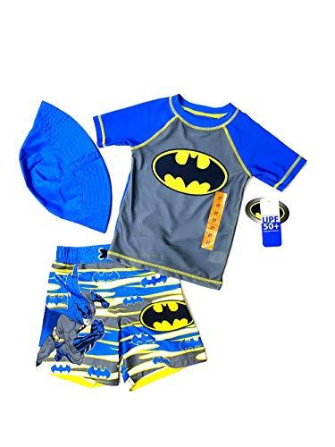 Dreamwave Batman Little Boys Swim Trunk Rashguard Set (Red, 4T)
