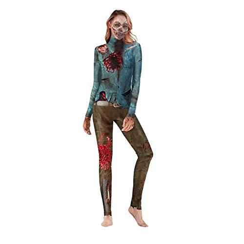 Halloween Halloween Bodysuit Overall Body Kostüm 3D Zombie Print Einstellen Anzieh Bühnenanzug Catsuit Partykleidung Cosplay Jumpsuit Clubwear Ankleiden (Size : S)