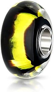 Materia objetos de cristal de Murano Bead negro con brillantes de oro -{925} plata abalorios y cuentas de cristal para European pulsera #1481