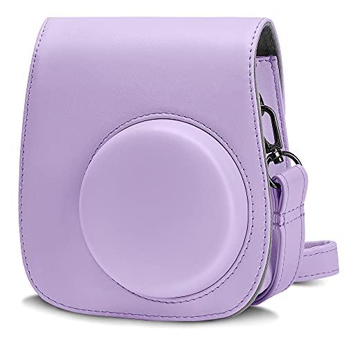 Cpano PU Funda de Cuero para cámara para Fujifilm Instax Mini 11 Cámara instantánea con Correa y Bolsillo Ajustables. (Púrpura)