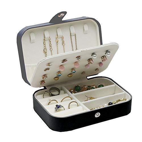 Homeanda Joyero organizador de viaje de piel sintética para anillos, pendientes, collares, pulseras, cajas de almacenamiento