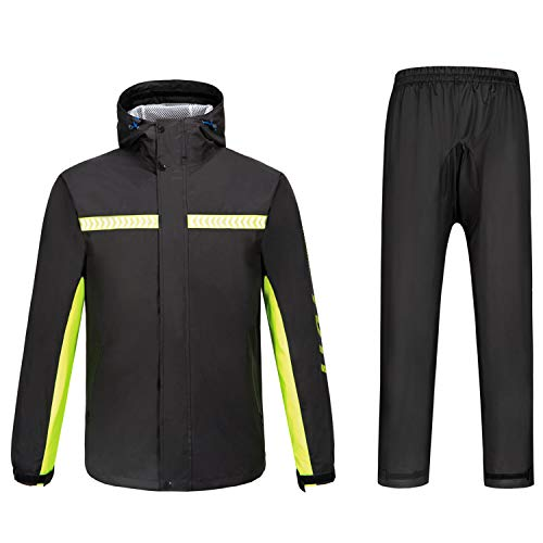 Freiesoldaten Men's Outdoor Waterproof Raincoat Motorcycle Cycling Rain Suits with Hood