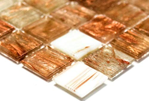Mosaikfliese Glas Goldstar klar weiß bronze Wandfliesen Badfliese Duschrückwand Fliesenspiegel MOS54-1302_m