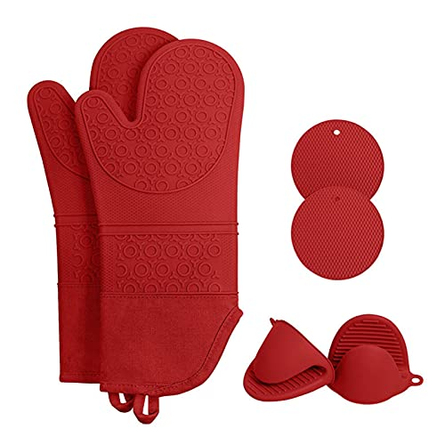 Oven Gloves Heat Resistant, with Pinch Mitts and Insulation Mat, for Cooking Baking Grilling Barbecue