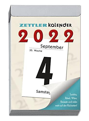 Tagesabreißkalender L 2022 - 6,6x9,9 cm - 1 Tag auf 1 Seite - mit Sudokus, Rezepten, Rätseln uvm. auf den Rückseiten - Bürokalender 304-0000