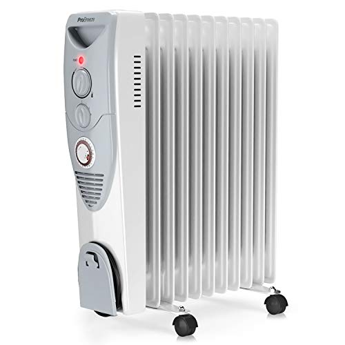 41oFVGKFMIL. SS500  - Pro Breeze® 2500W Oil Filled Radiator, 11 Fin - Portable Electric Heater - Built-in Timer, 3 Heat Settings, Adjustable…