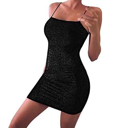 iYmitz Damen Party Kleider Spaghettiträger Strap Rückenfreies Glitzer Club Mini Bodycon Kleid Frauen Glitzer Kleid