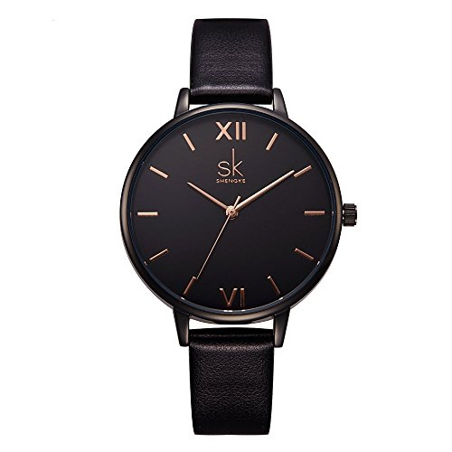 SHENGKE shengke señoras Reloj de Pulsera Creativas Mujeres Relojes Marca Reloj Mujeres Malla Vestido Reloj (K0039L-Black)