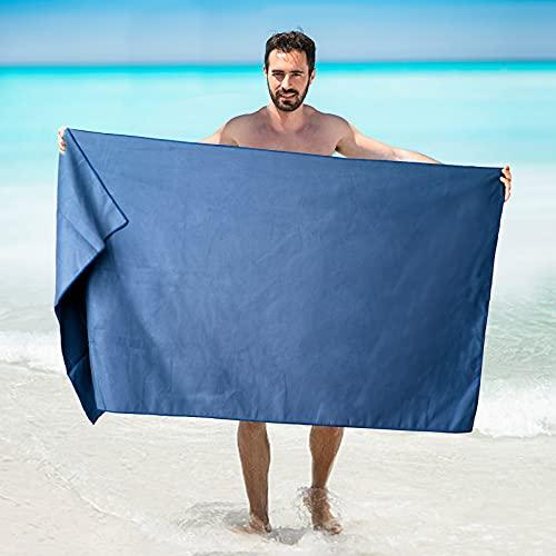 Idefair Asciugamani Microfibra,Telo Mare Asciugatura Rapida Con Borsa Per Il AltoAssorbente&Senza Sabbia Teli Mare Multifunzionali Per Palestra Yoga Nuoto Campeggio Viaggio(Blu navy)