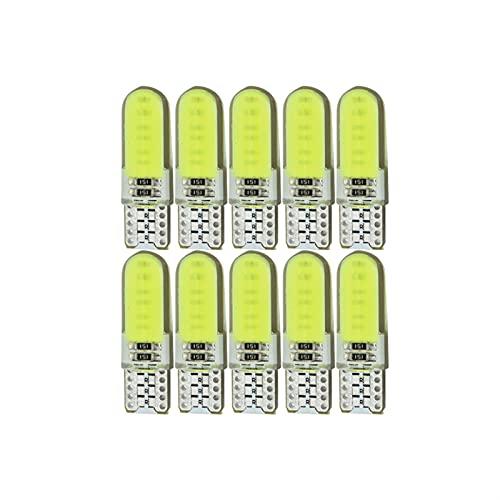 Lámpara 10x T10 W5W Coche LED Bombilla de señal COB Interior Luz 12V Super brillante Lectura automática Láminas de la placa Tronco de la cuña de la cuña Lámpara lateral ( Emitting Color : White )