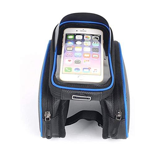 ZHENAO Impermeable Gran Capacidad Bici Frame Bag Bolsillo Doble Bolsa de Rack con Tpu Pantalla Táctil Soporte para Teléfono Móvil Telefono Bolsa Bolsa Cuadro Bicicleta Equipo Ecuest