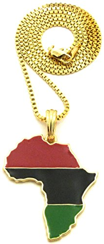 GWOOD Pan Africa Metal African Pendant with 24 Inch Long Necklace (Gold Color with 24 INCH Box Chain)