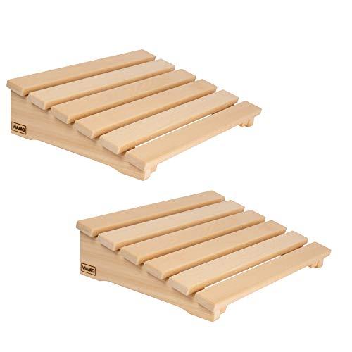 VIAMO® Sauna Kopfstütze Kopfteil Rückenlehne aus Abachiholz (Set aus 2 Stück), 39,5 cm x 30 cm