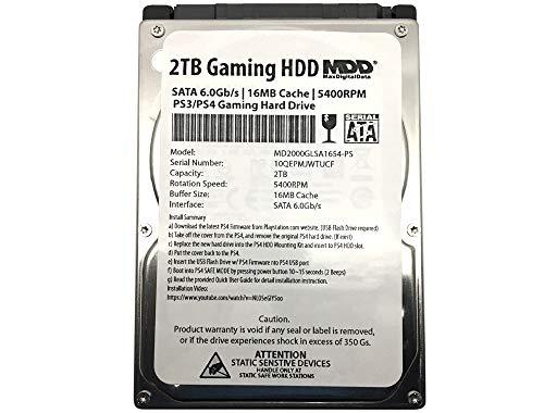 MaxDigitalData MD2000GLSA854-PS Festplatte (2 TB, 5400 U/min, 8 MB Cache (9,5 mm), SATA, 6,0 GB/s, 2,5 Zoll (6,4 cm), PS4, Gaming-Festplatte