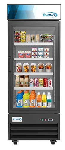"Koolmore 29"" Commercial Glass 1 Door Display Refrigerator Merchandiser - Upright Beverage Cooler with LED Lighting - 23 Cu. Ft."