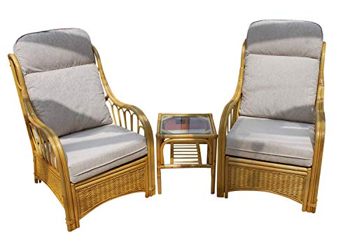 Garden Market Place Sorrento Cane Conservatory Furniture Duo Set-2 Chairs and a Side Table-Cream Colour Fabric, 119 X 80 X99