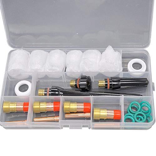GEEKEN 30 Unids Durable Tig Accesorios De Antorcha De Soldadura 4# -12# Juego De Copa De Vidrio Tig Gas Lens Collets Body For Wp-17/18/26 Antorcha
