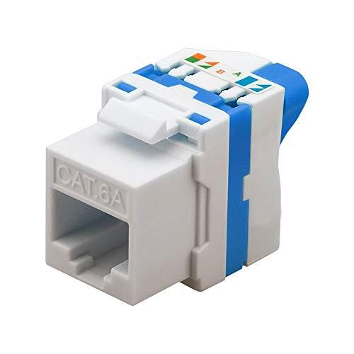 Goobay 93827sin herramientas de corte Pinza montaje, UTP sin apantallamiento CAT 6A Keystone RJ45hembra, Color Azul/Blanco