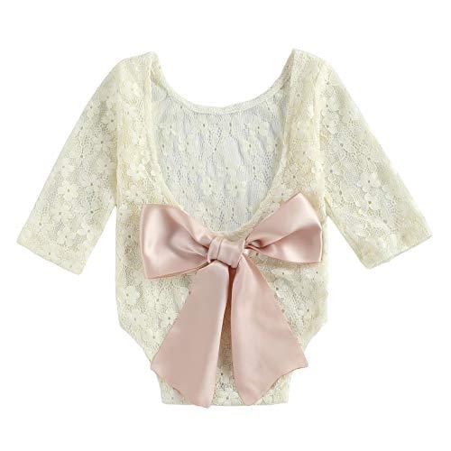 Mameluco de las muchachas del bebé, ropa de la princesa de la decoración del arco de la manga larga, beige, 18 meses