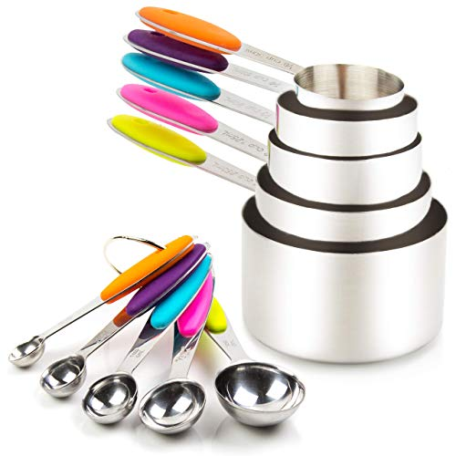 Measuring Cups and Spoons Set 10 Piece, Including 5 Metal Measuring Cups...