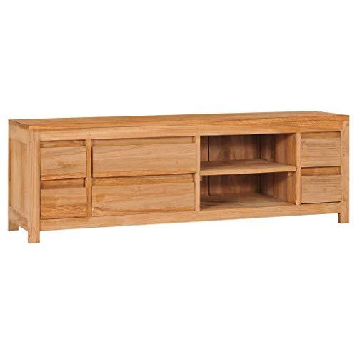 vidaXL Solid Teak Wood TV Cabinet Lowboard Sideboard Storage Side Cabinet Modern Entertainment TV Stand Unit for Living Room and Bedroom