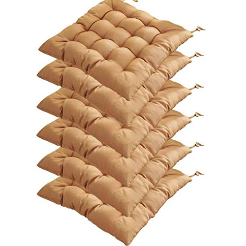 DWXN wicker chair pad cushion outdoor, Patio Chair Cushion with ties, chair cushion for dining chairs with ties 40x40, seat cushions for kitchen chairs, for Home Office Outdoor Indoor-set of 6-Brown