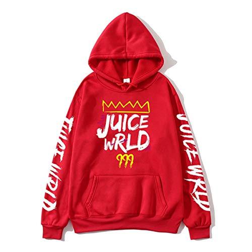 DISINIBITA Unisex Juice Rapper Wrld Hoodie Hip Hop Hooded Sweatshirt For Fans Red XL