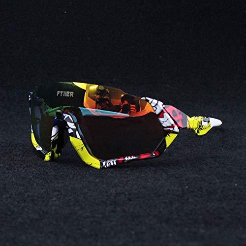HKYMBM Gafas de Sol de Ciclismo, Gafas fotocromáticas para Lentes de protección UV Unisex. Gafas Deportivas con Correas para Montar,F