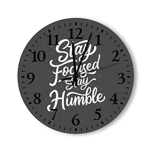 DKISEE Reloj de pared redondo de madera, silencioso, sin garrapatas, con letras a mano, para dormitorio, sala de estar, hogar, 30,4 x 30,4 cm