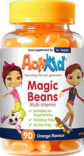 ActiKid Magic Beans Multi-Vitamin 90x Orange Flavour, Gelatine Free, Vitamins for Kids, Immunity Boost
