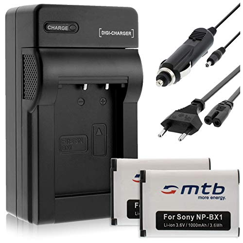 2 Akkus + Ladegerät (KFZ, Netz) für Sony NP-BX1 / HDR-AS50, AS200V, AS300 … / DSC-HX400, RX100 IV. / PJ410 / FDR-X1000V, X3000R (s. Liste)